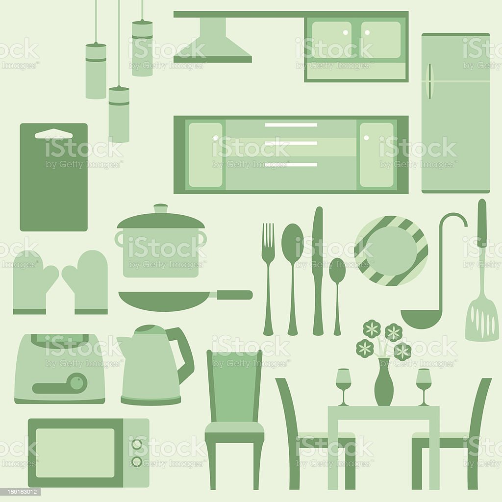 Vector set of furniture in kitchen room royalty-free stock vector art