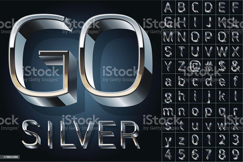 Vector set of futuristic metal silver alphabet vector art illustration