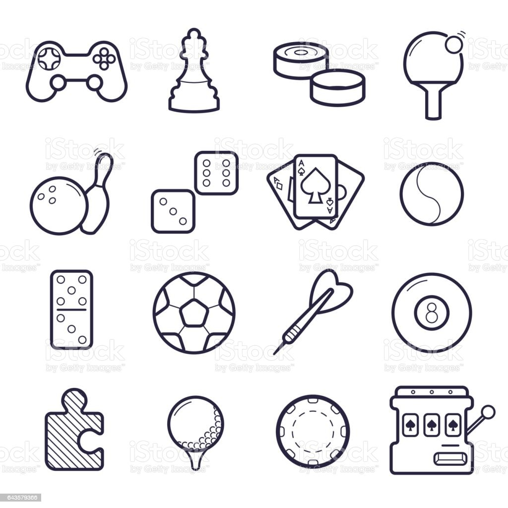 Vector set of games icons vector art illustration