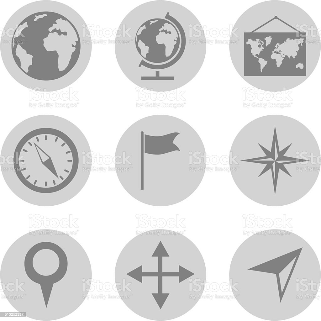 Vector Set of  Geography Icons. vector art illustration