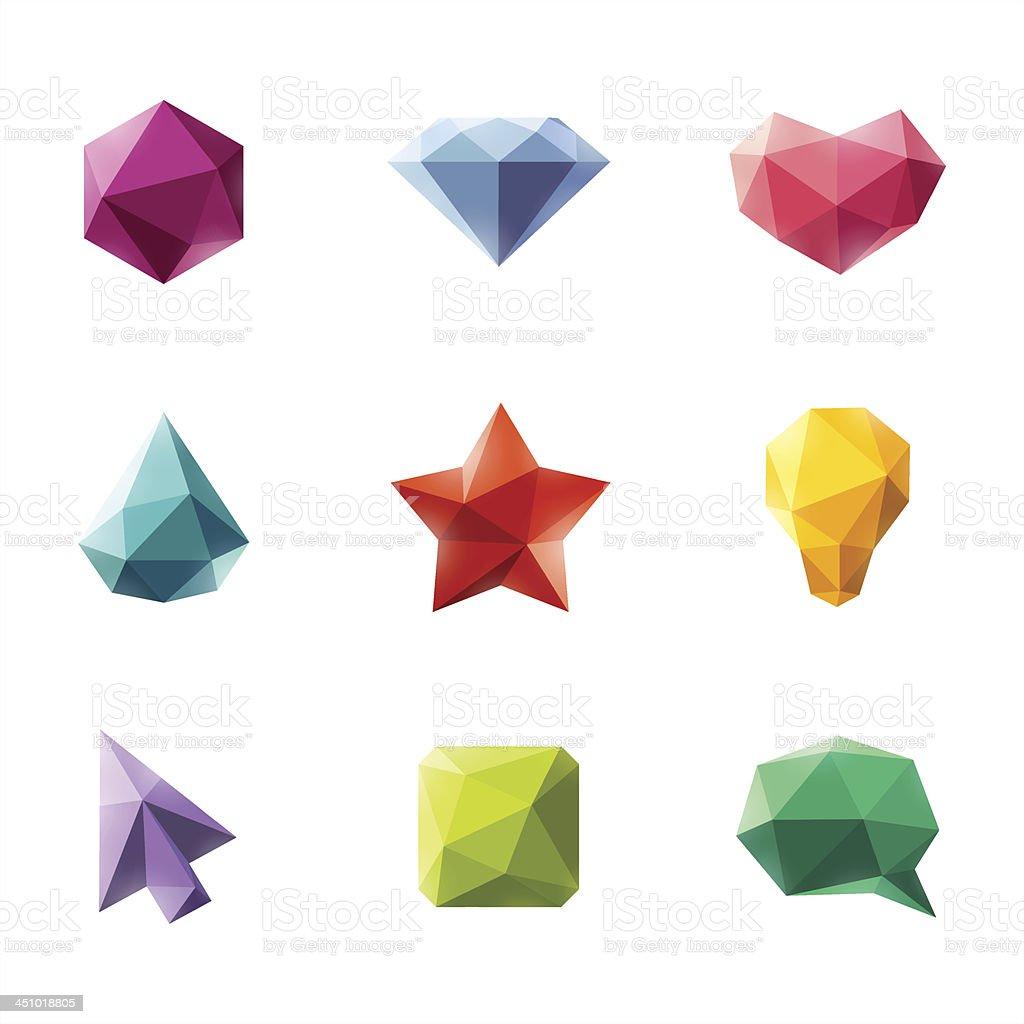Vector set of geometric design elements vector art illustration