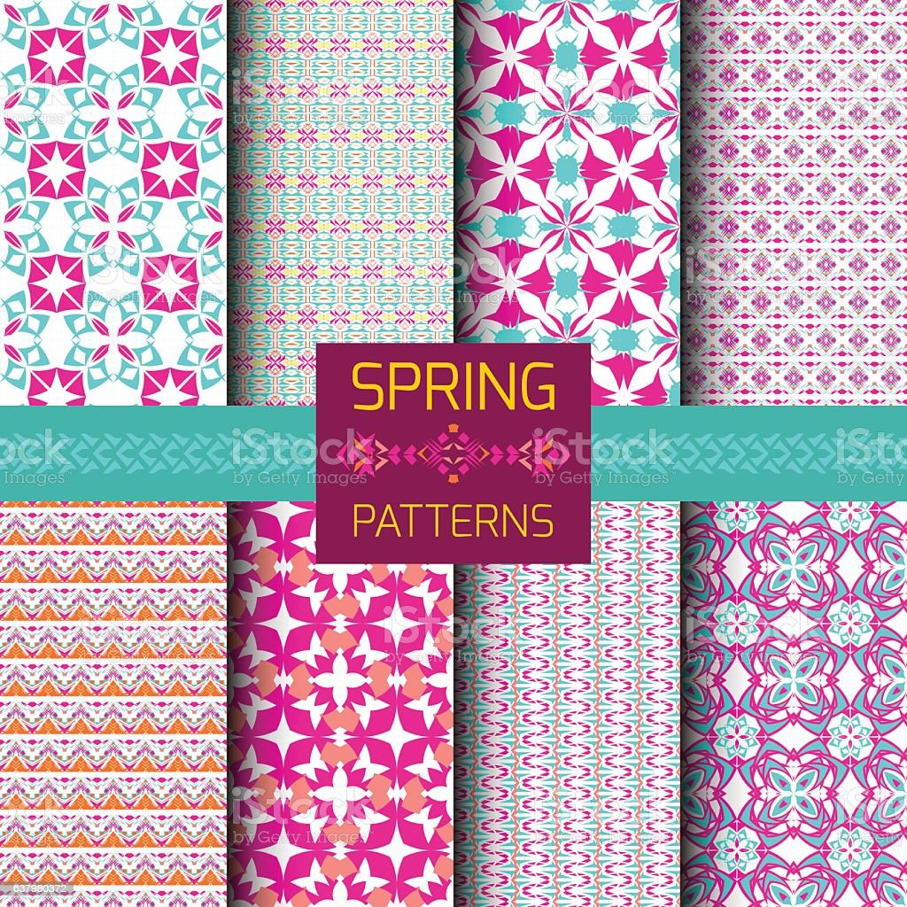 Vector set of geometric ornamental patterns with bright spring colors vector art illustration