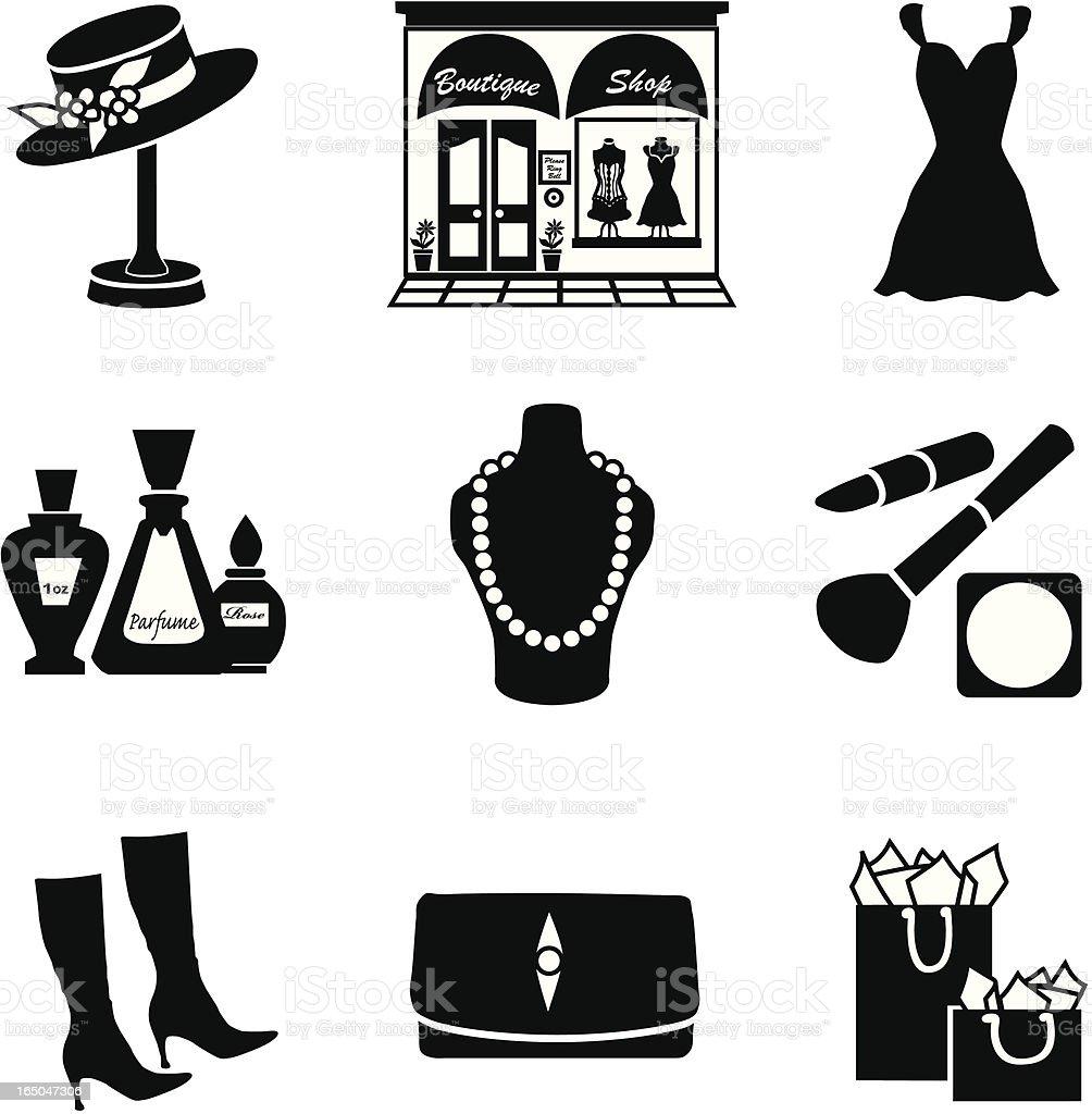 Vector set of glamorous shopping icons in black silhouette vector art illustration
