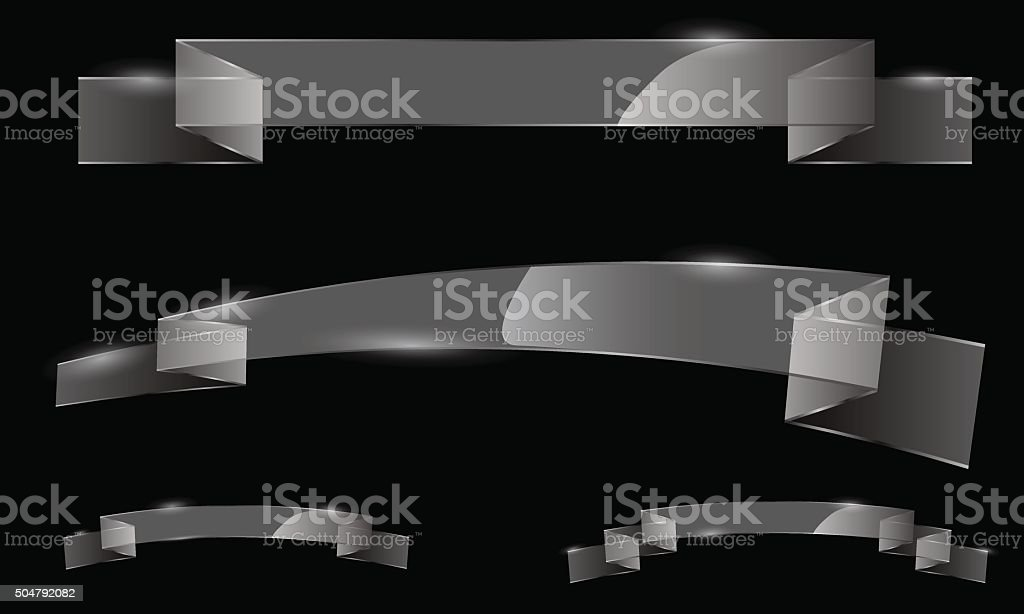 Vector set of glass transparent ribbon banners vector art illustration