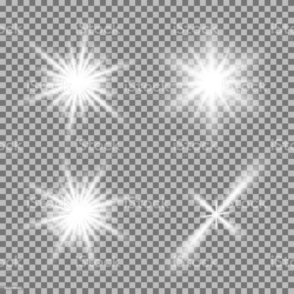 Vector set of glowing light bursts with sparkles on transparent vector art illustration