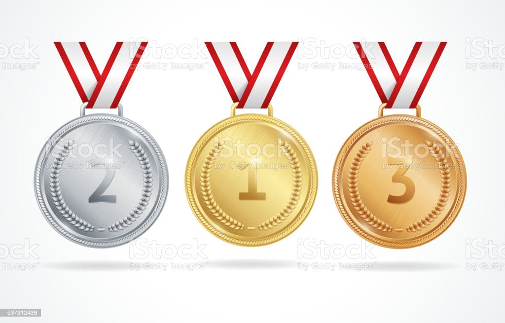 Vector. Set of gold, silver and bronze medals vector art illustration