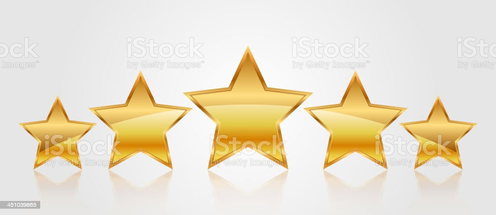 Vector set of gold stars vector art illustration