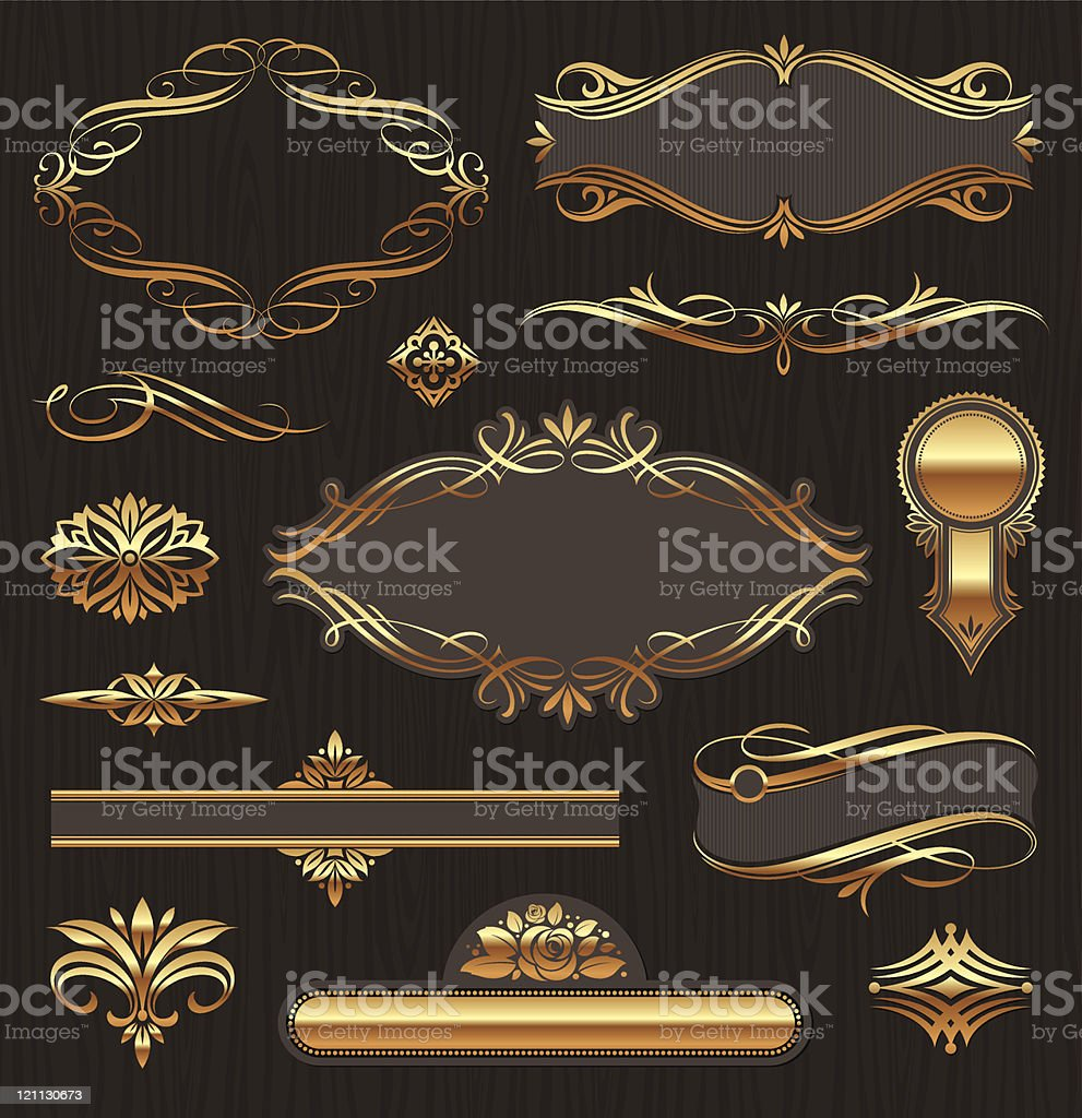 Vector set of golden ornate page decor elements royalty-free stock vector art