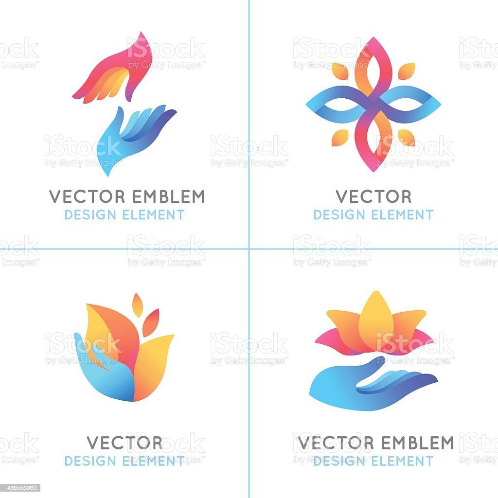 Vector set of gradient logo design elements vector art illustration