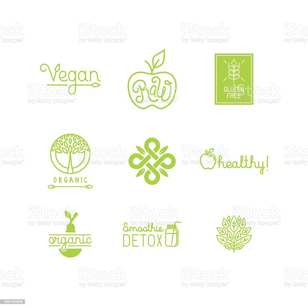 Vector set of green and organic products labels and badges vector art illustration