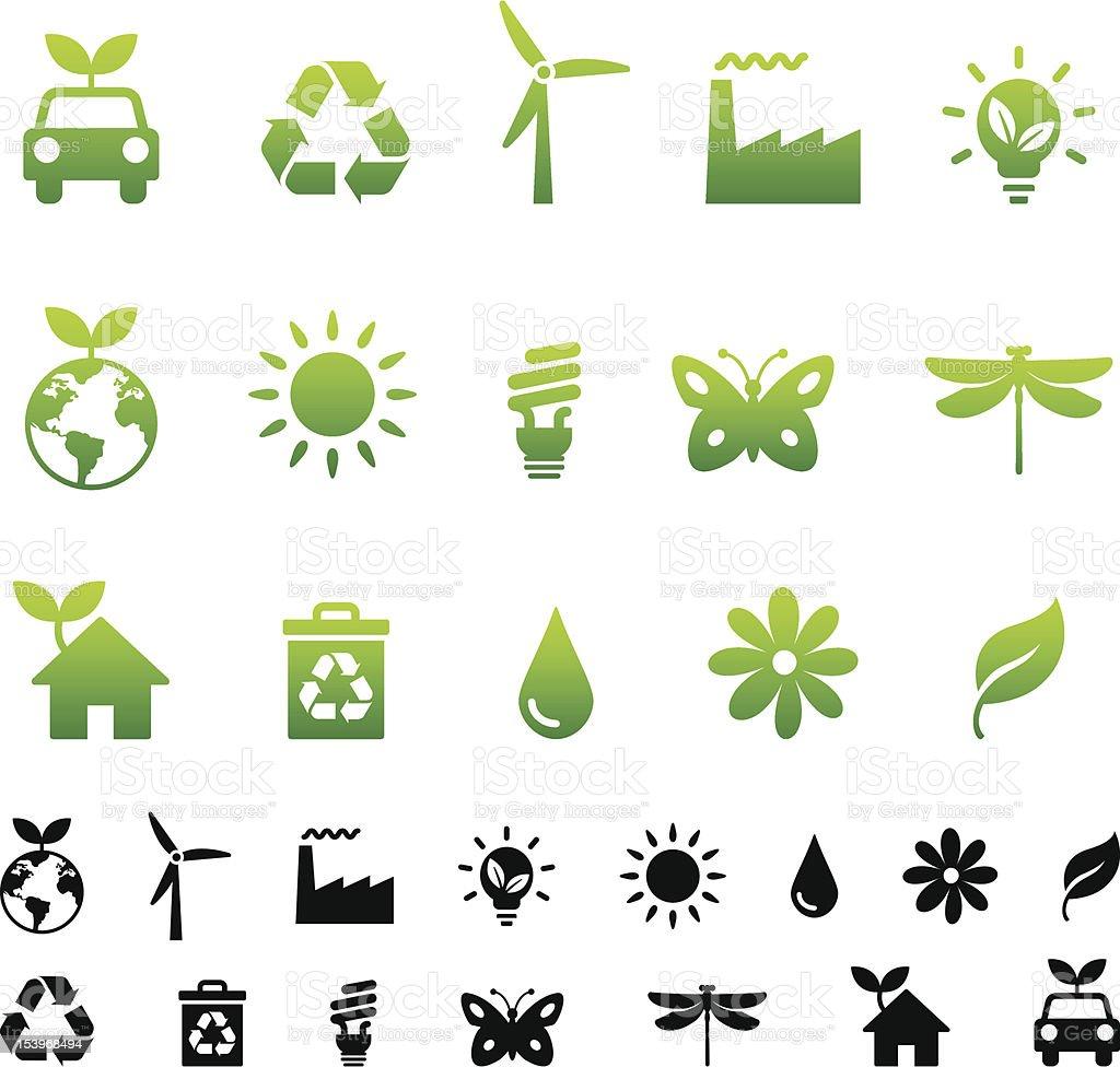 A vector set of green environmental icons vector art illustration