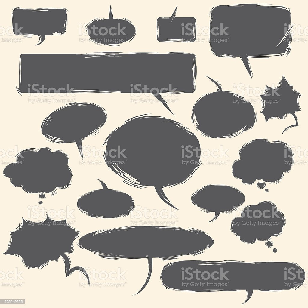 Vector Set of Grunge Comics  Bubbles. Talk and Think royalty-free stock vector art
