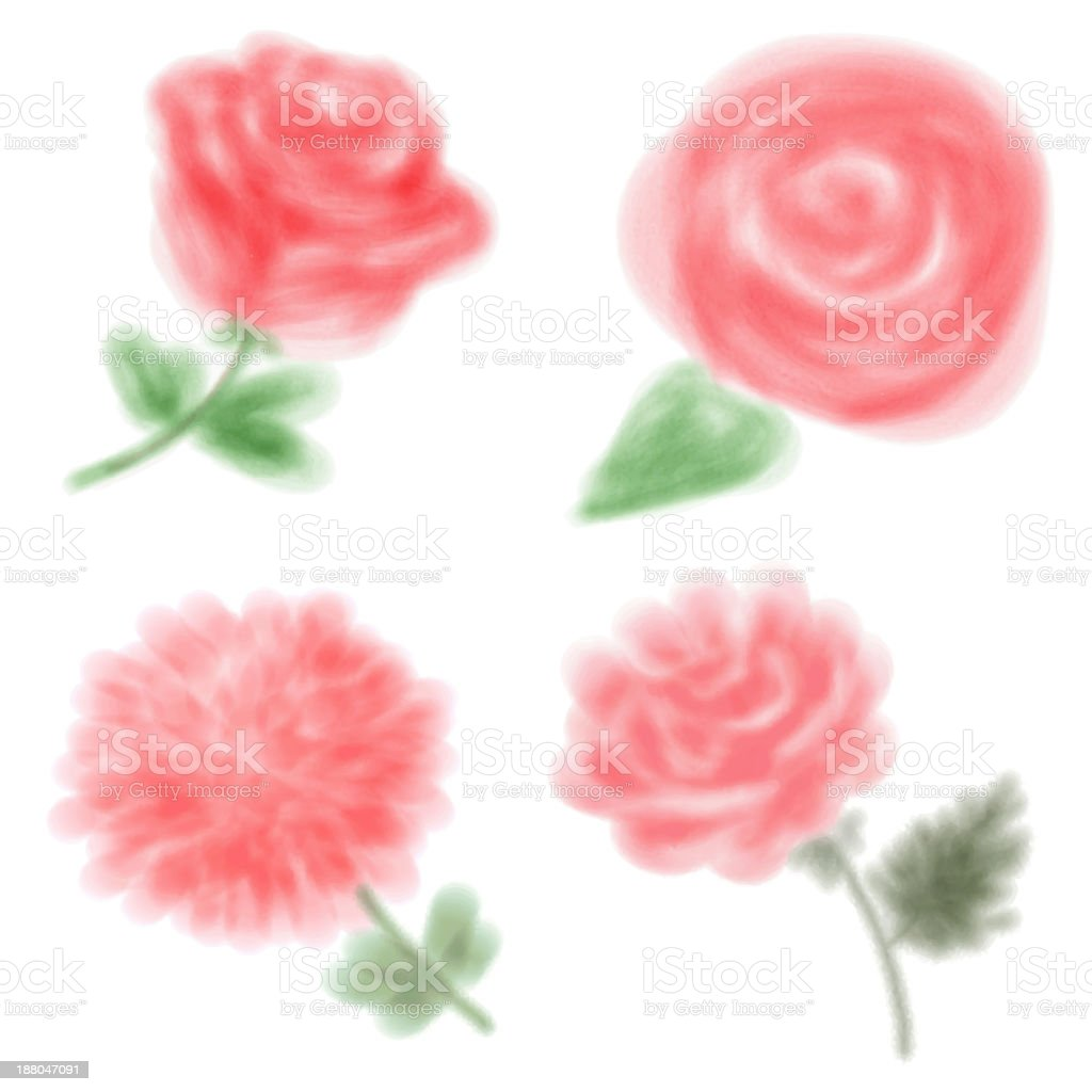 Vector Set of Grunge Watercolor Flowers. royalty-free stock vector art