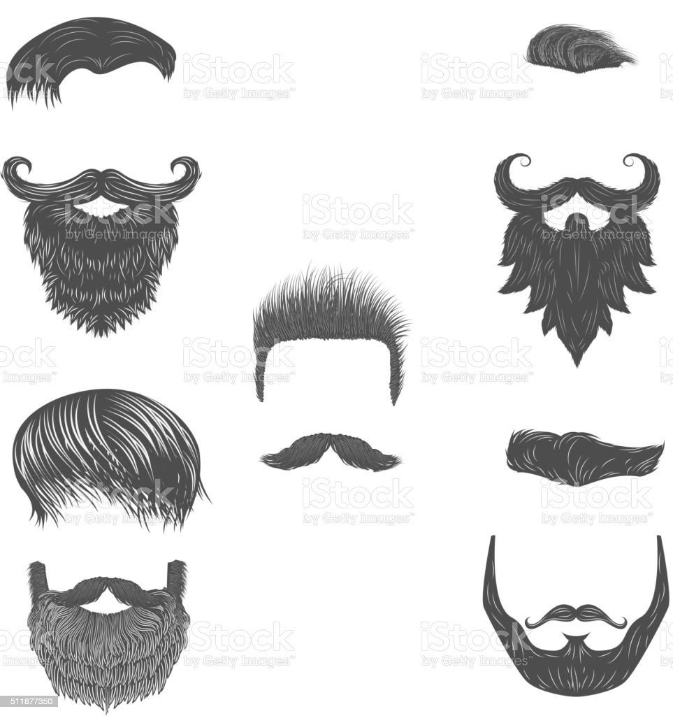 Vector set of hairstyles. Vector beards vector art illustration