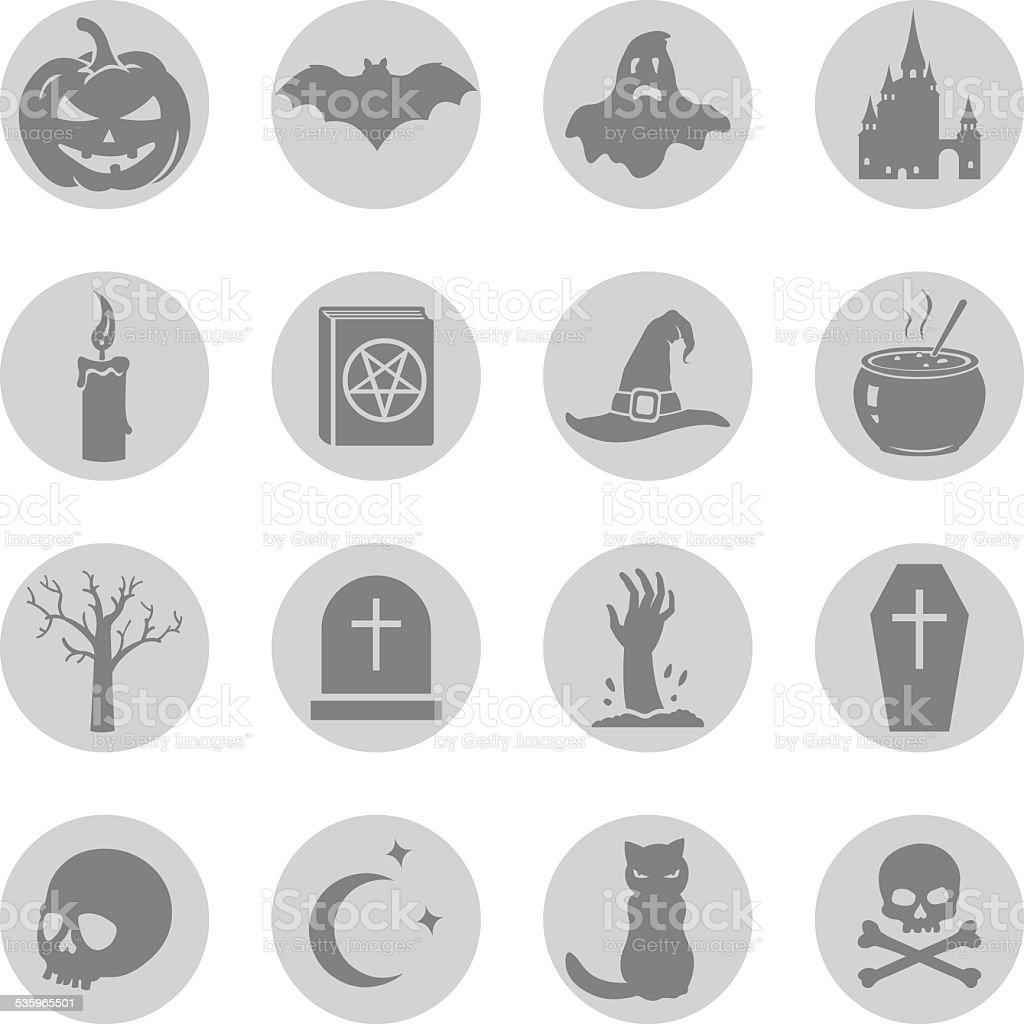 Vector Set of Halloween Icons vector art illustration