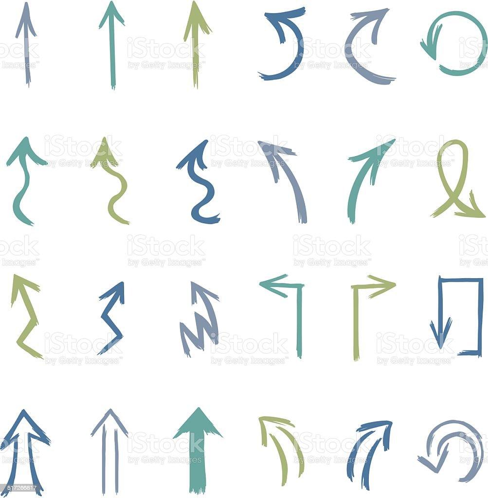 Vector Set of Hand Drawn Arrows vector art illustration