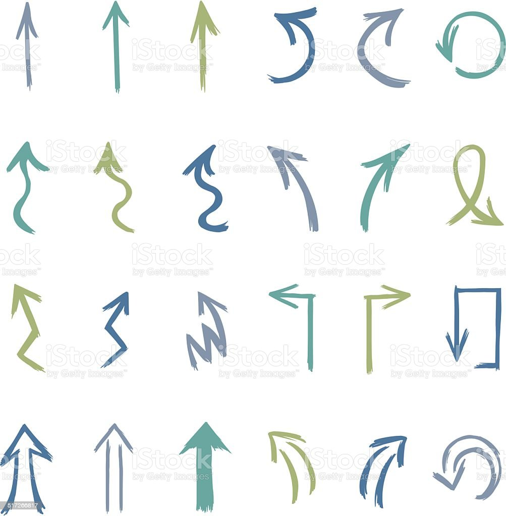 Vector Set of Hand Drawn Arrows vector art illustration