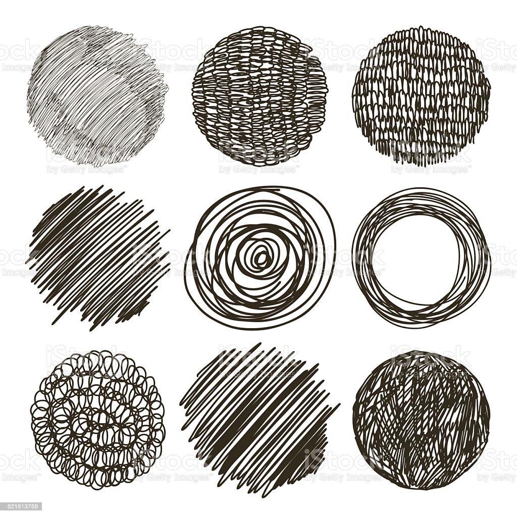 Vector set of hand drawn circles. Sketch. vector art illustration