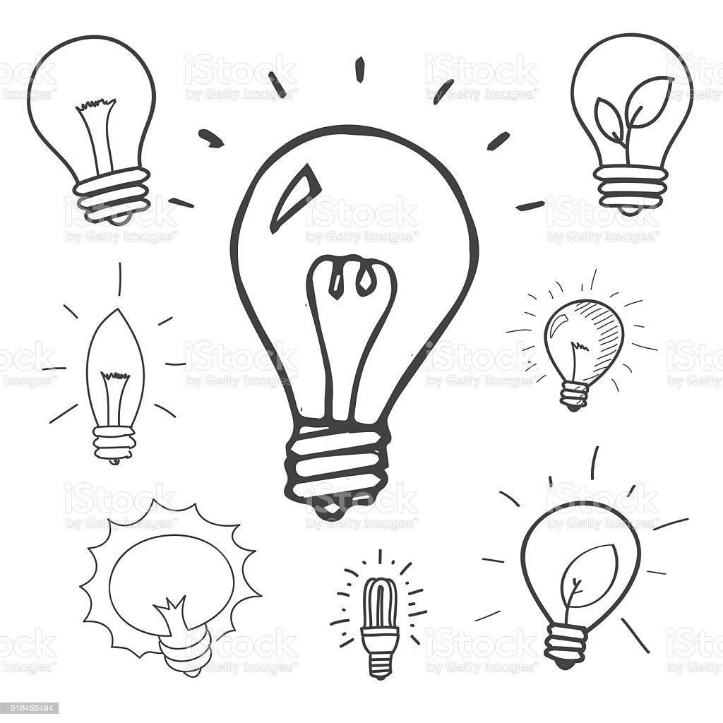 Vector set of hand drawn light bulbs vector art illustration
