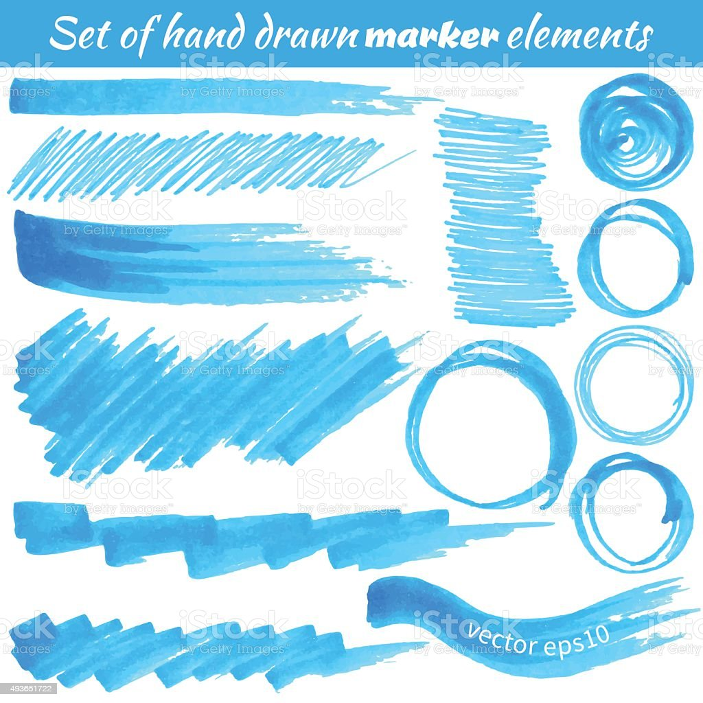 Vector set of hand drawn marker elements vector art illustration