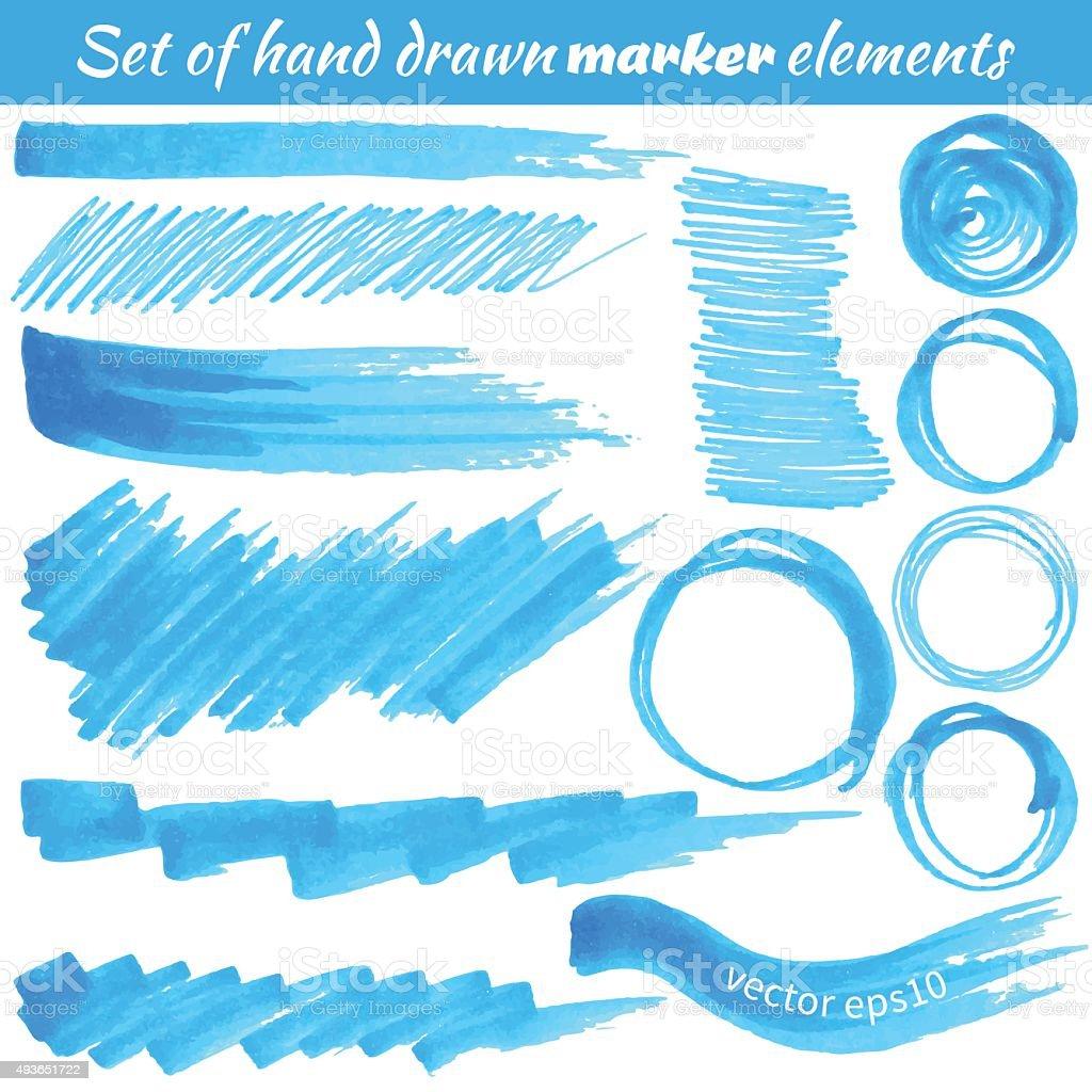 Vector set of hand drawn marker elements vector art illustration