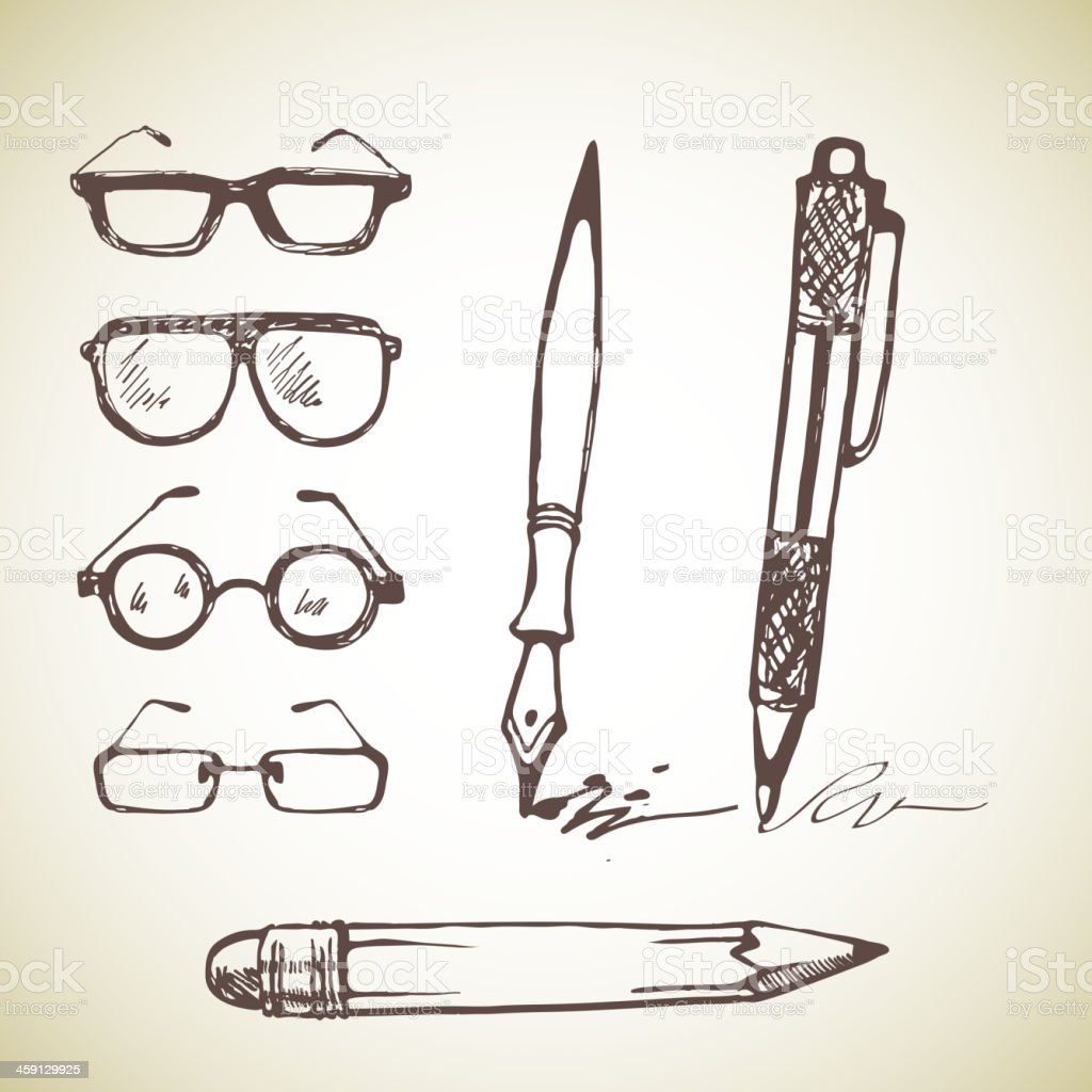 Vector set of hand drawn pens and glasses. vector art illustration