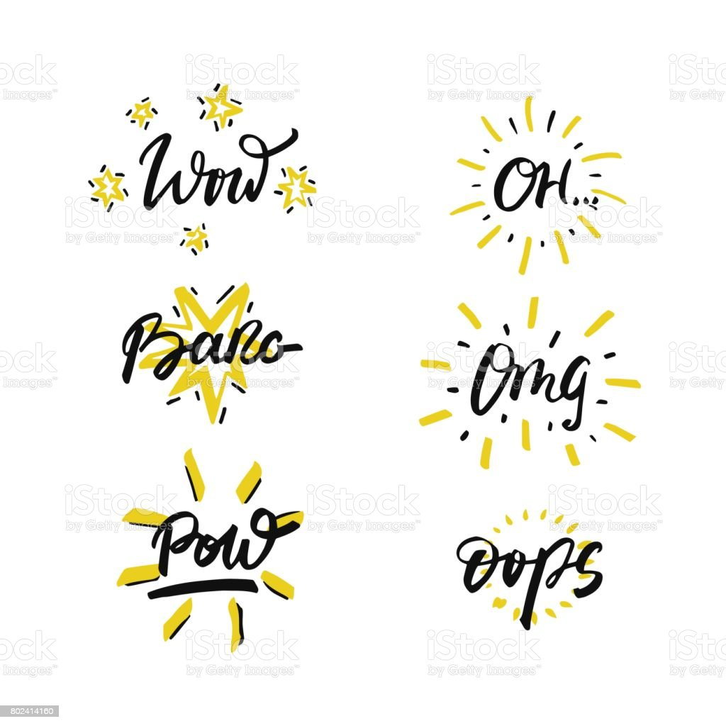 Vector set of hand drawn phrases in brush style - slang expressions. vector art illustration