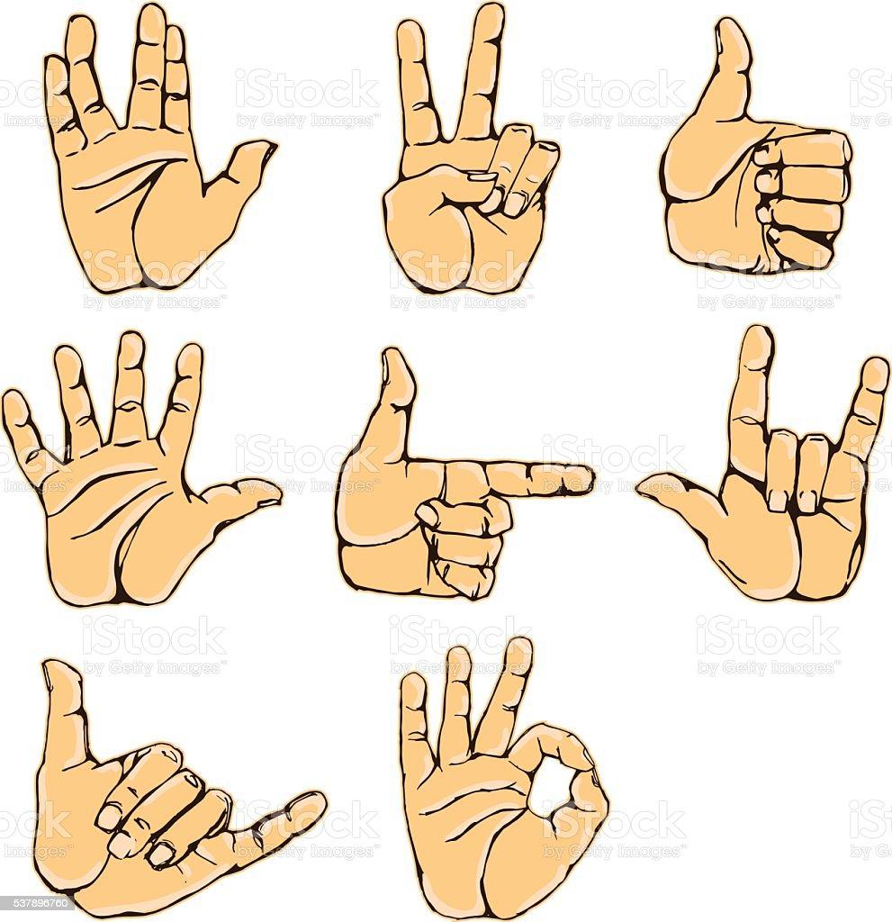 Vector set of hand gesture vector art illustration