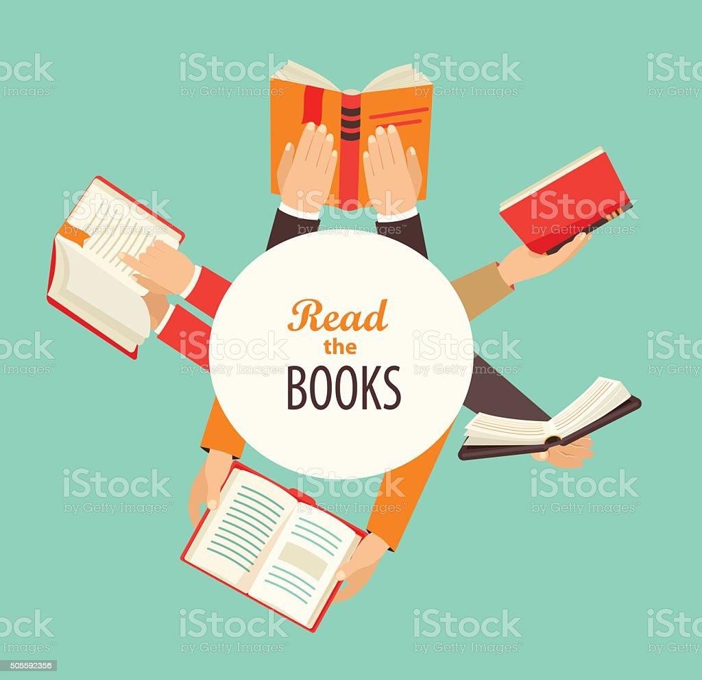 Vector set of hand holding books. vector art illustration