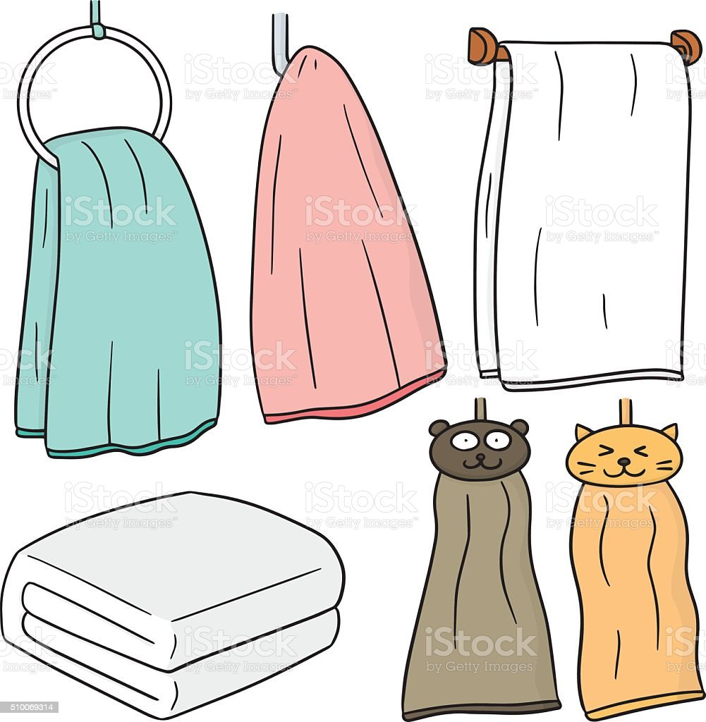 vector set of hand towel vector art illustration