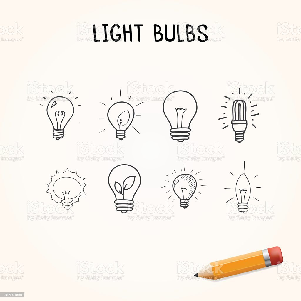 Vector set of Hand-drawn light bulbs, doodle icons vector art illustration