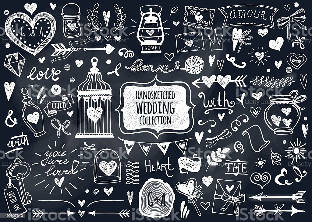 Vector set of hand-drawn Wedding elements. vector art illustration