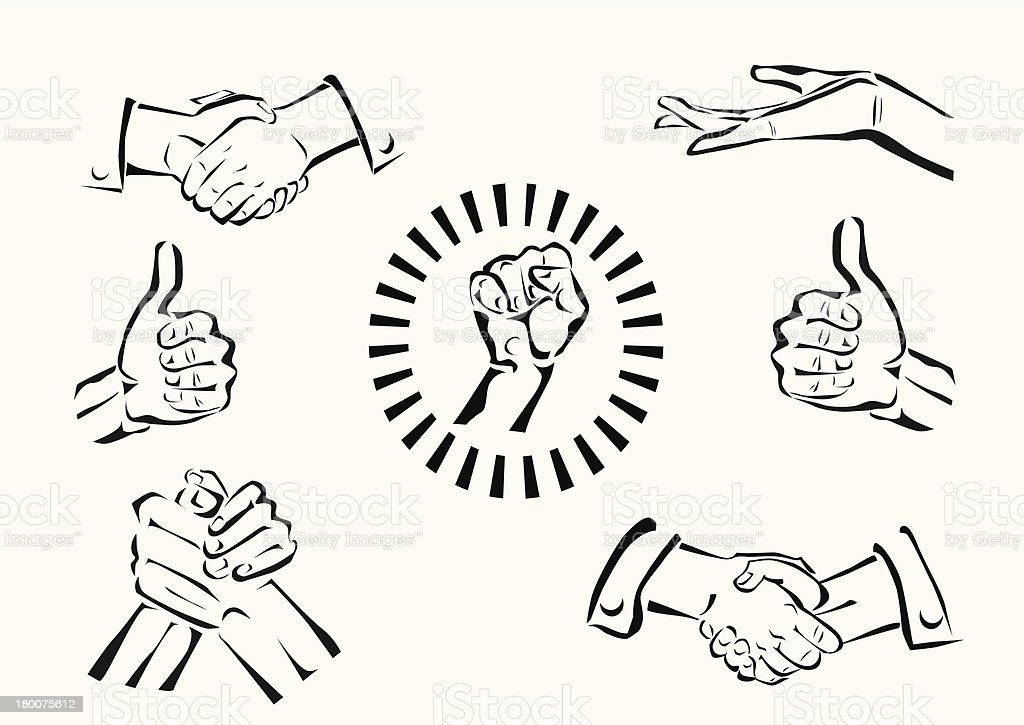 Vector set of hands and gestures royalty-free stock vector art