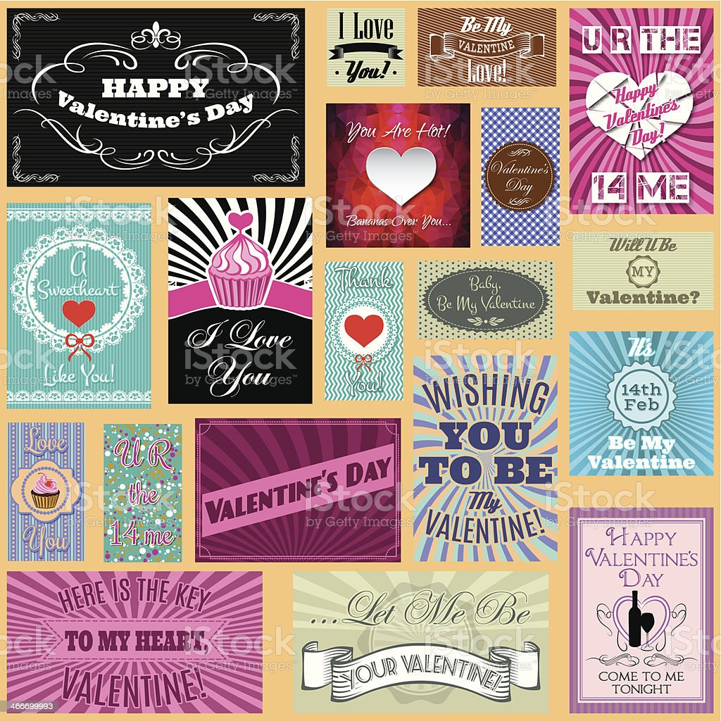 vector set of Happy valentines day cards royalty-free stock vector art
