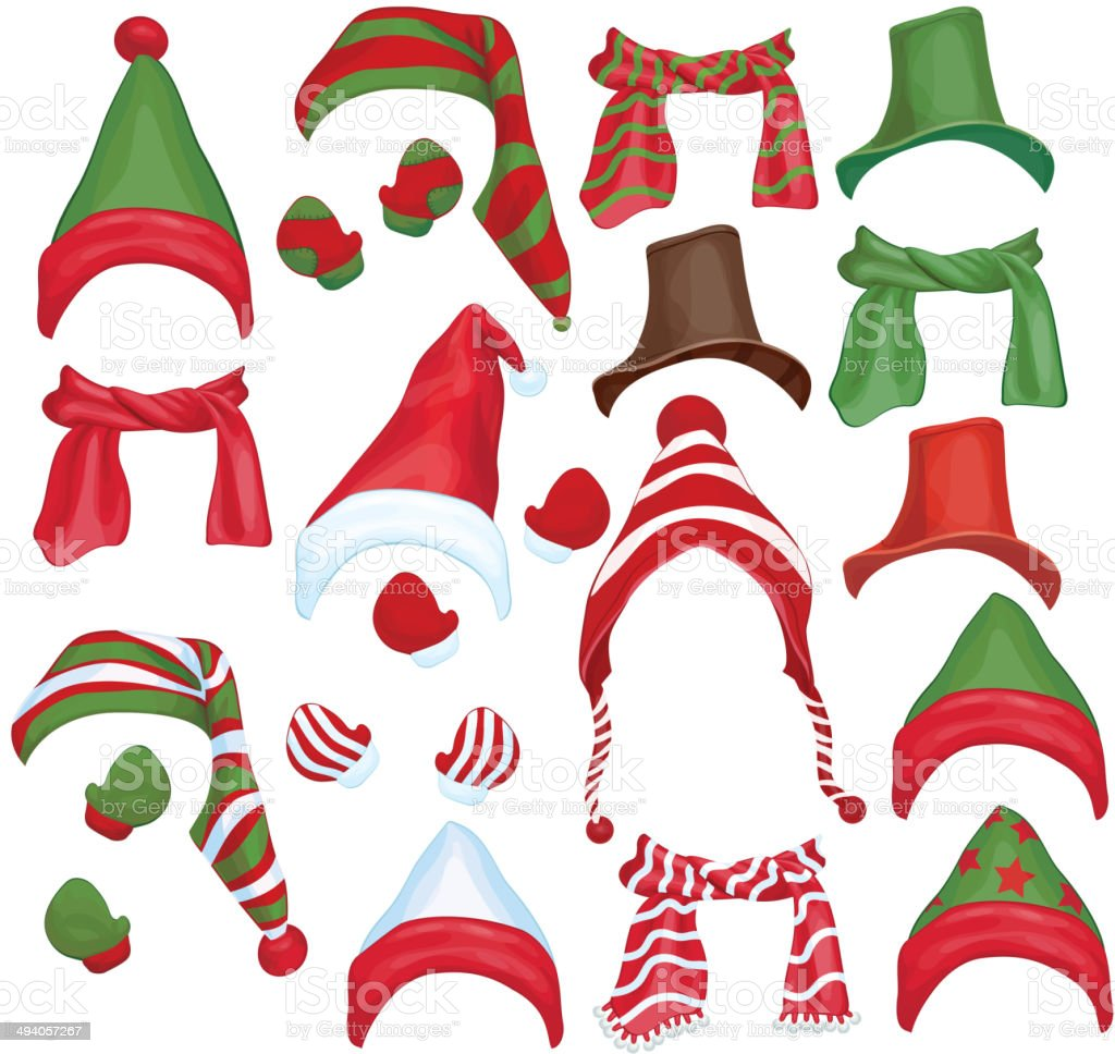 Vector set of hats, scarfs and gloves for design isolated. vector art illustration