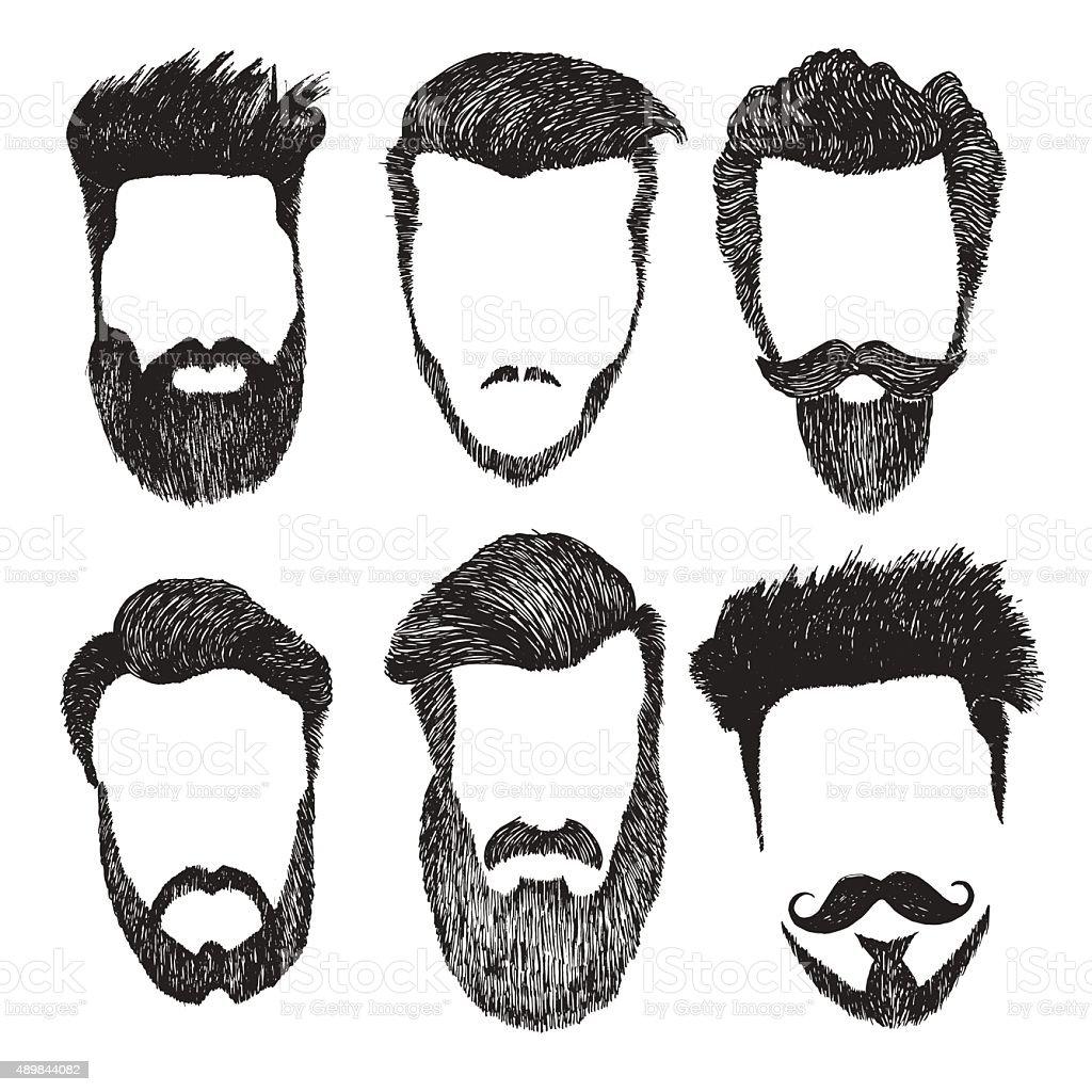Vector set of hipster style haircut, beard, mustache vector art illustration