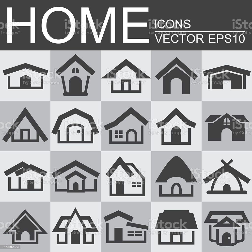 Vector set of home icons vector art illustration