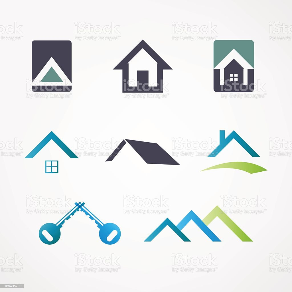 Vector set of house icons in blue, green and black on white vector art illustration