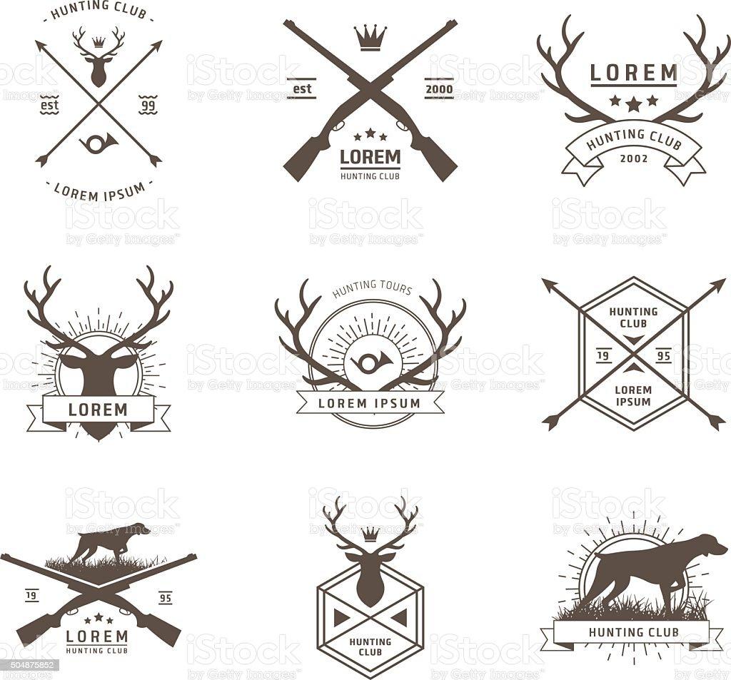 Vector set of hunting labels vector art illustration