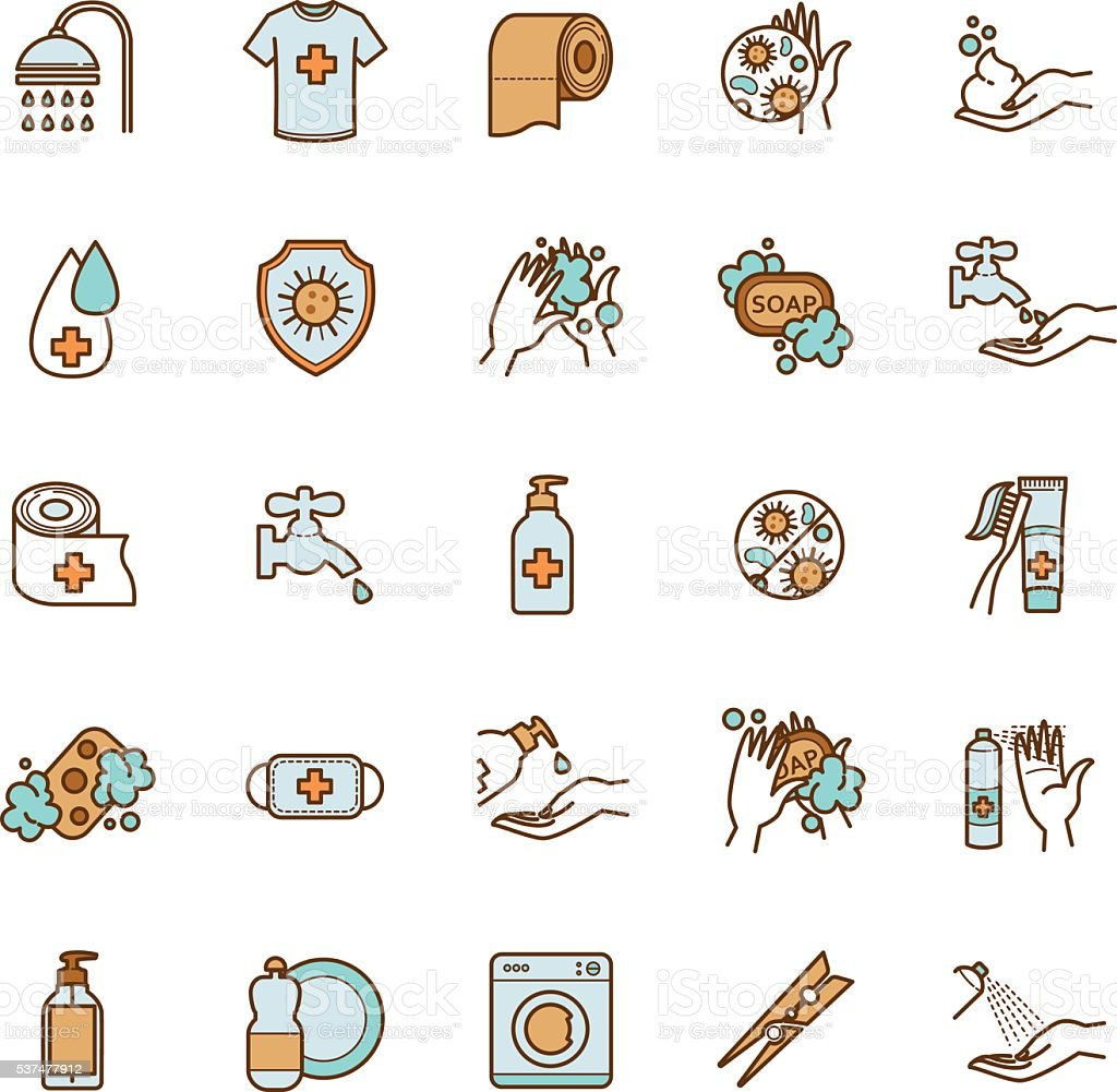 vector set of hygiene and cleanliness icons vector art illustration