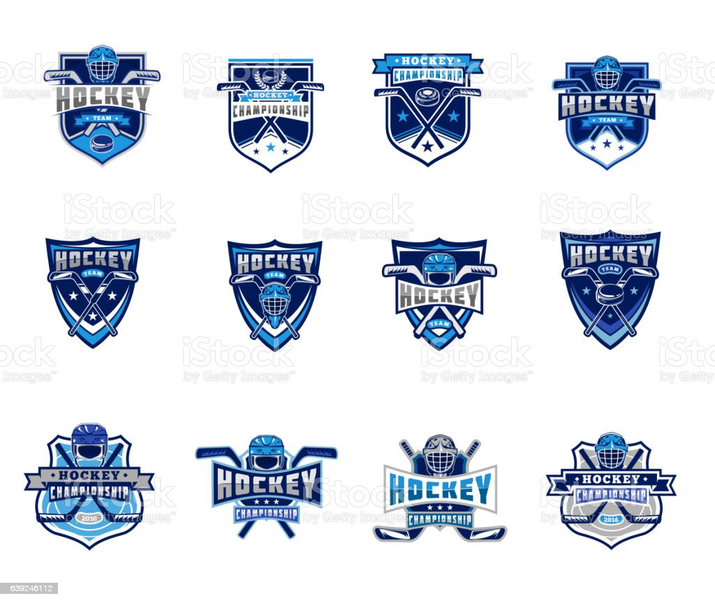 Vector set of ice hockey badges, stickers, emblems vector art illustration