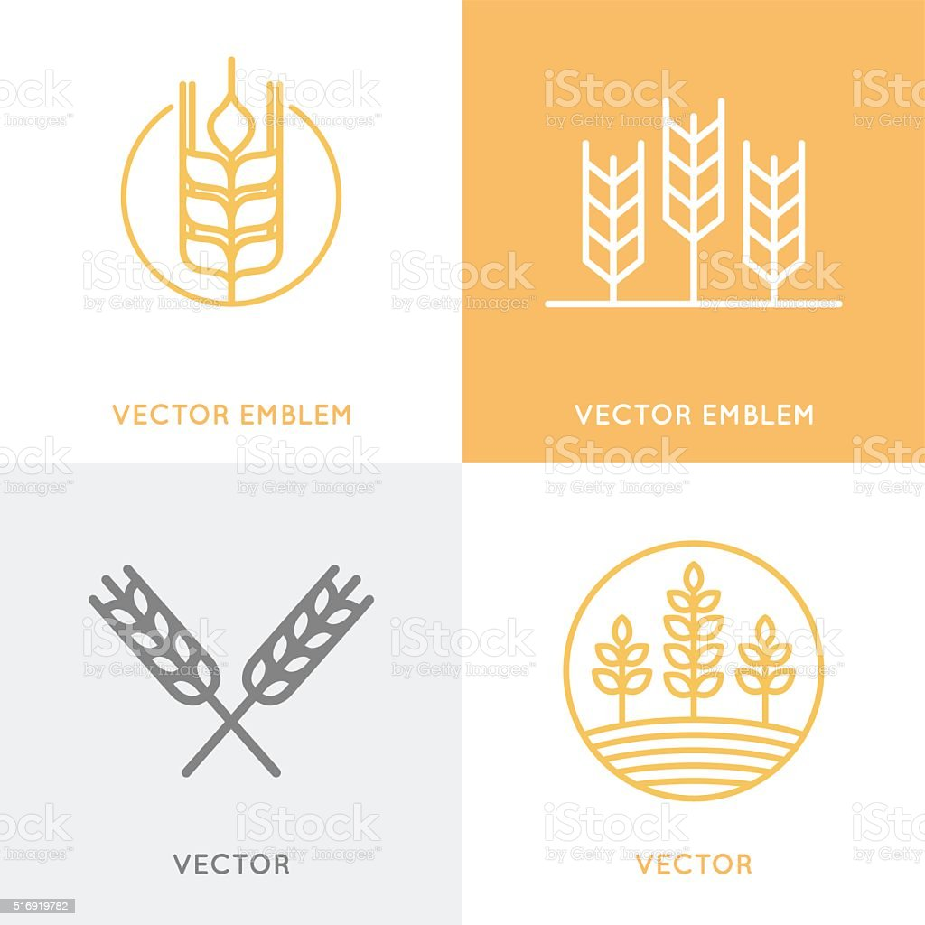 Vector set of icon design templates in trendy linear style vector art illustration