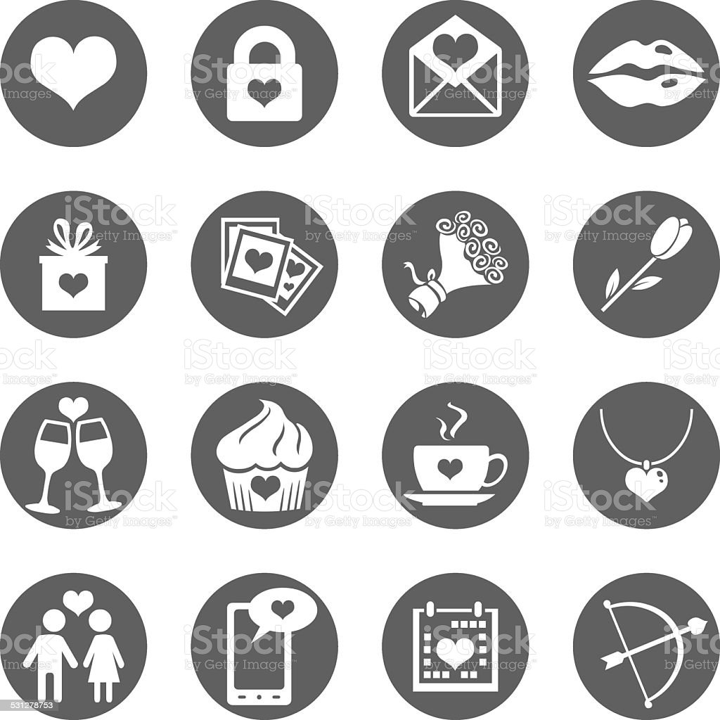 Vector Set of Icons for Valentine Day vector art illustration