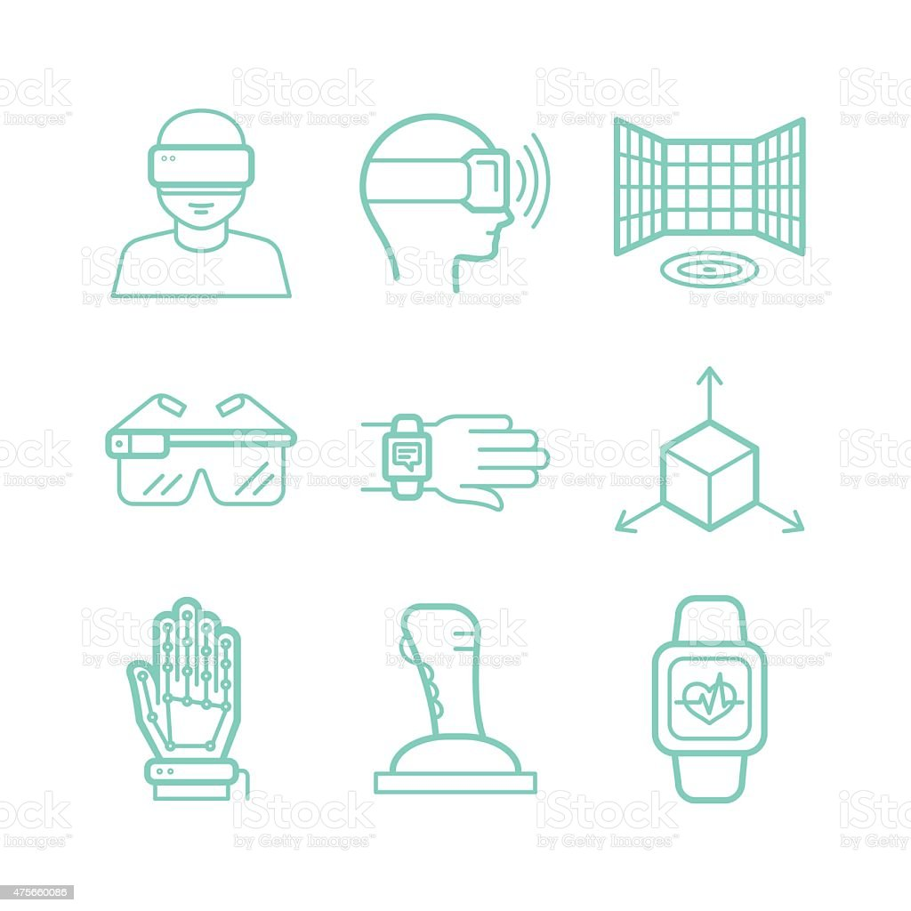 Vector set of icons in trendy linear style vector art illustration