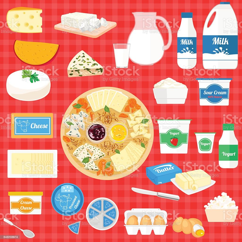 Vector set of illustration with dairy products vector art illustration