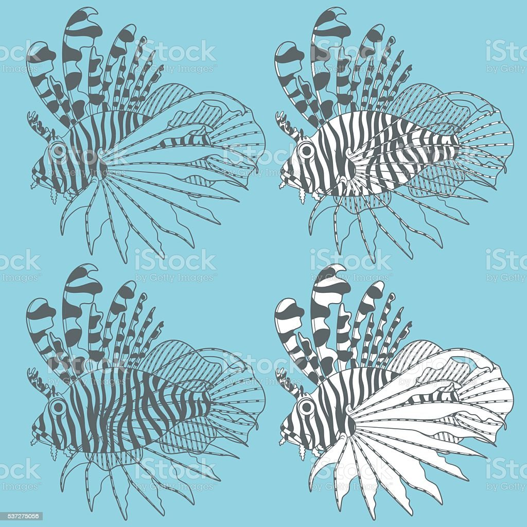 Vector set of illustrations with lionfish. Isolated objects vector art illustration