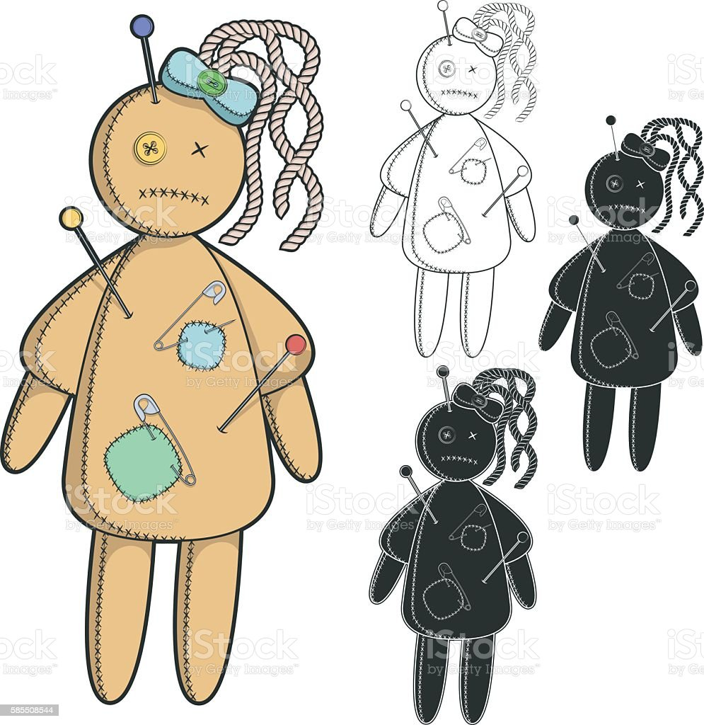 Vector set of images with a voodoo doll. Isolated objects vector art illustration