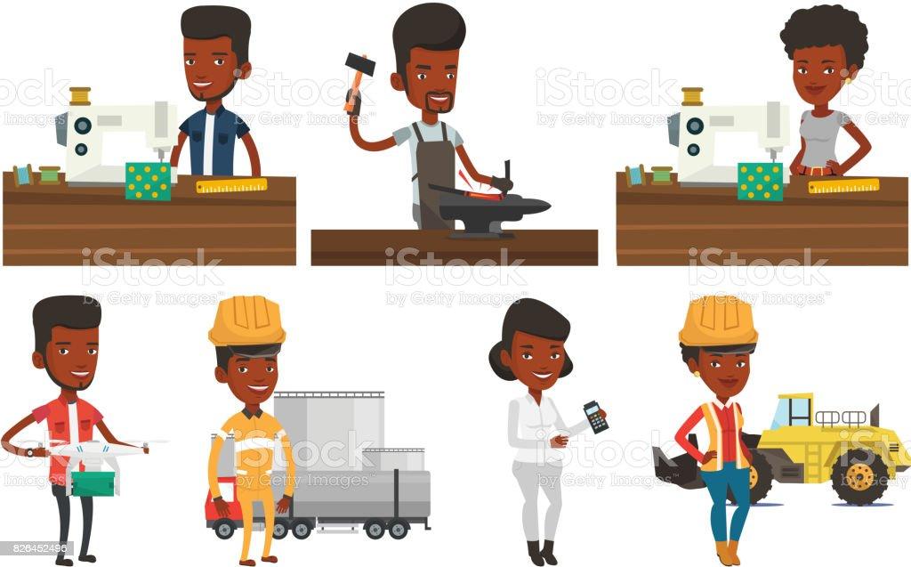 Vector set of industrial workers vector art illustration