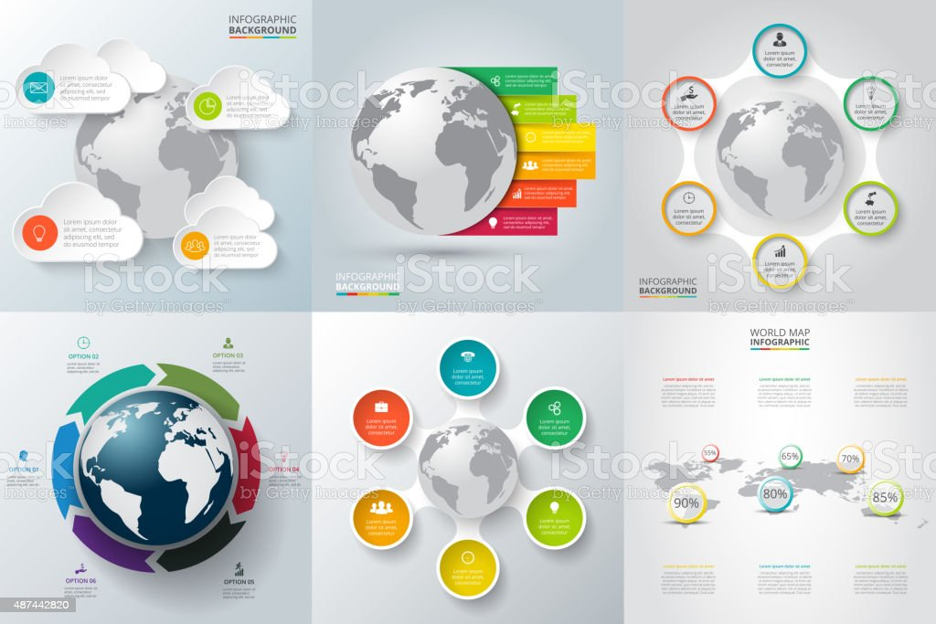 Vector set of infographics with the planet earth. vector art illustration