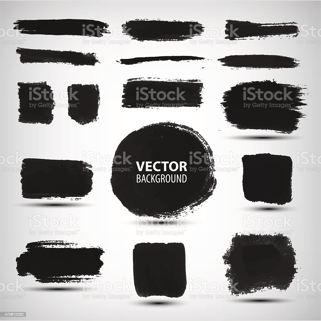 Vector set of ink brush strokes vector art illustration